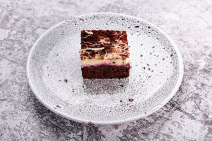 """""""Chocolate and berry"""" cake with cherry"""